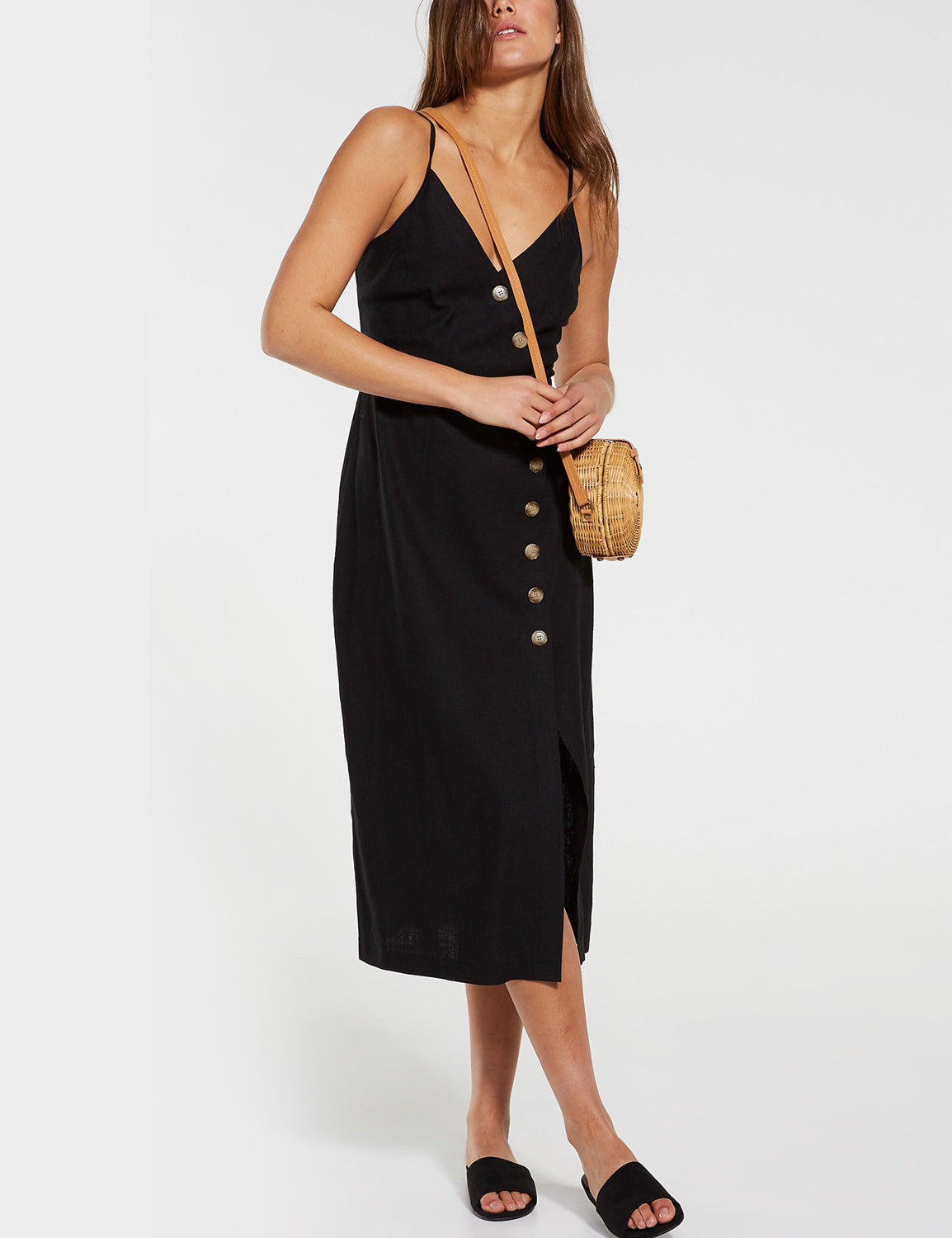 V Neck Button Up Wrap Dress