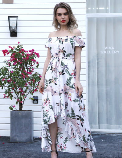 Off the Shoulder Floral Maxi Dress - Blooming Jelly
