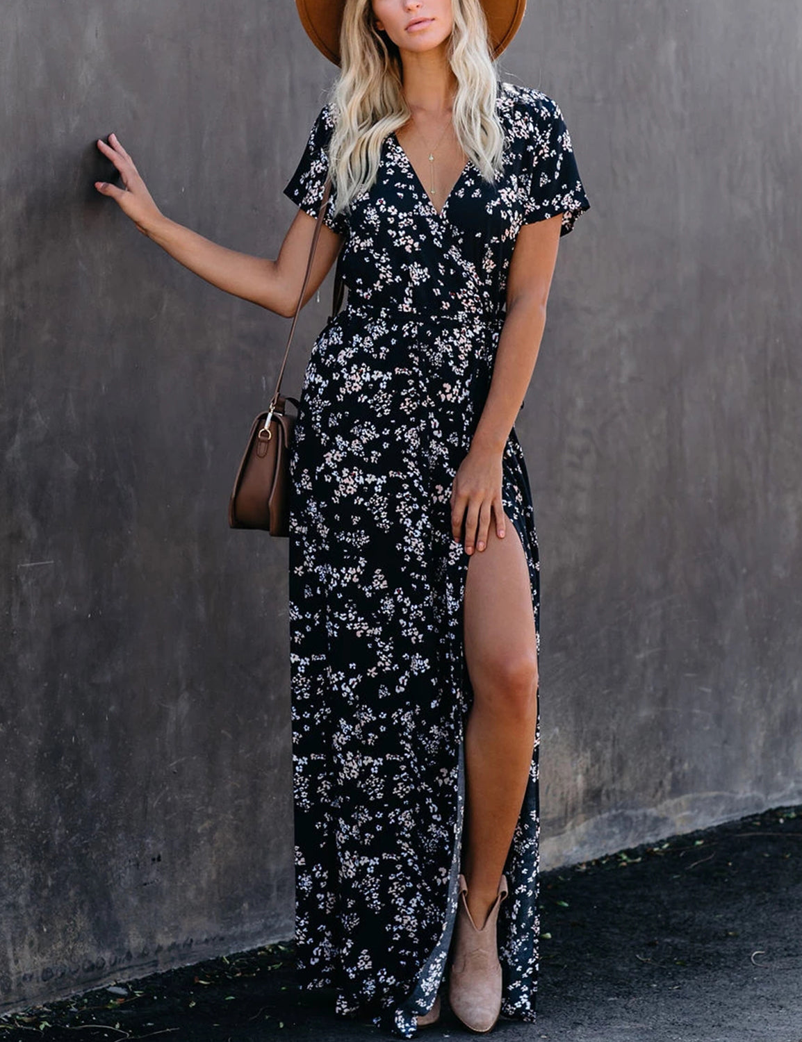 Gorgeous Side Split Wrap Floral Maxi Dress