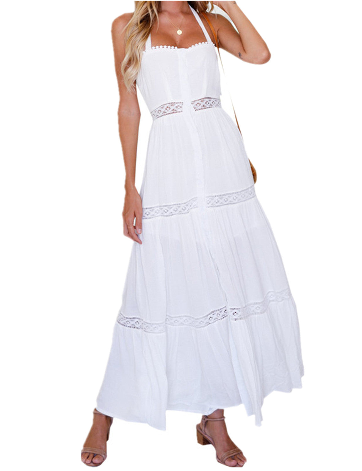 Sleeveless Halter Lace Maxi Dress - Blooming Jelly
