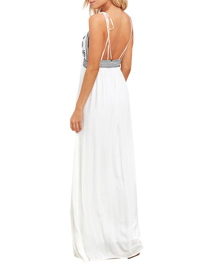 DAYS OF SUNLIGHT IVORY EMBROIDERED MAXI DRESS - Blooming Jelly