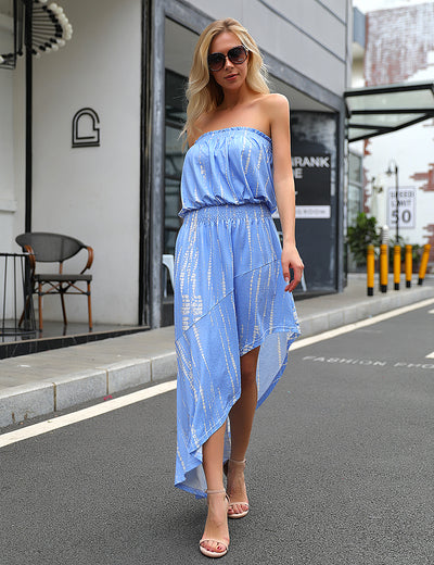 Dream Girl Tie Dye Strapless Irregular Maxi Dress - Blooming Jelly