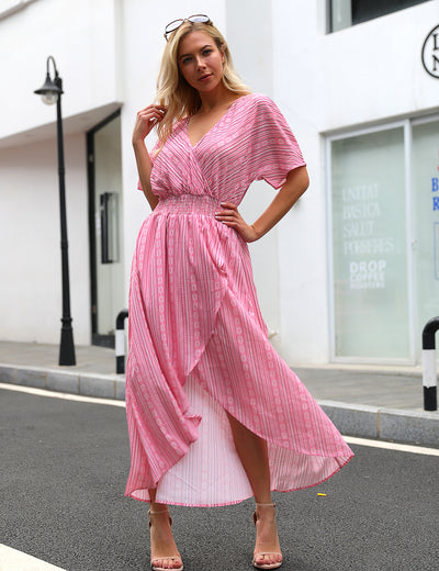 Belongs To You Stripes Flowy Wrap Maxi Dress - Blooming Jelly