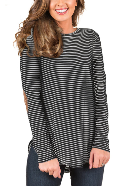 Blooming Jelly_Casual Striped Elbow Patch Tunic Top_White Striped_153121_05_Women Fashion Autumn&Winter_Tops_Blouse