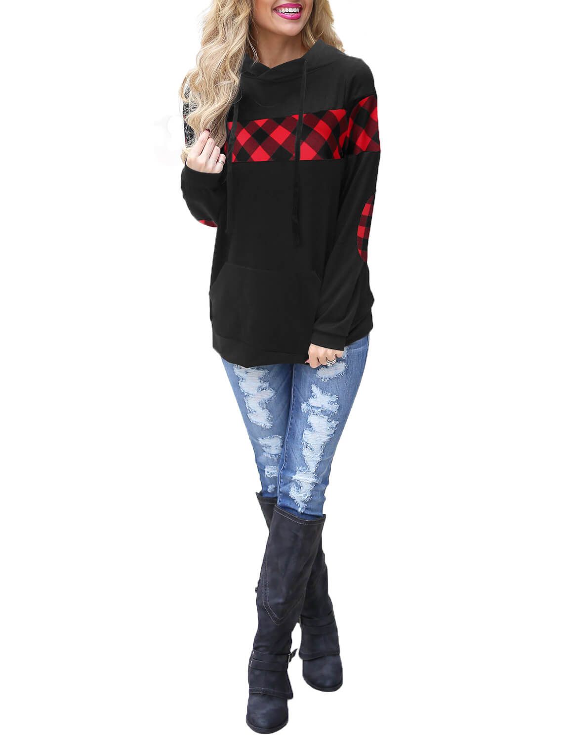 Blooming Jelly_Contrast Check Long Sleeve Sweatshirt_Black&Red Contrast Check_152357_21_Autumn&Winter Contrast Outdoor_Tops_Hoodie