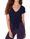 Overlapping Front Panels Knot Tunic T Shirt Top - Blue - Blooming Jelly