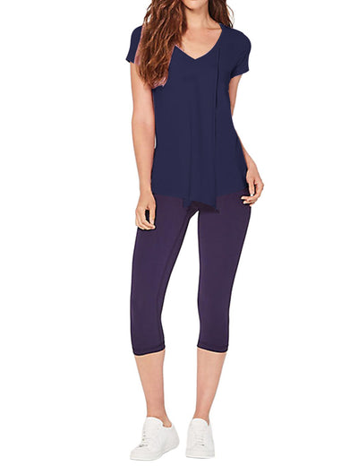 Overlapping Front Panels Knot Tunic T Shirt Top - Blue