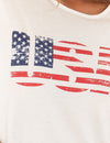 USA Crop Top Letter Print Tee Shirt