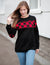 Blooming Jelly_Contrast Color Long Sleeve Patchwork Sweatshirt_Black Checkerboard_152357_02_Autumn&Winter Contrast Outdoor_Tops_Sweatshirt