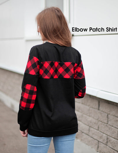 Contrast Color Long Sleeve Patchwork Sweatshirt - Blooming Jelly