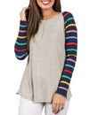 Rainbow Strip Raglan Sleeve Fabric Splicing Top - Blooming Jelly