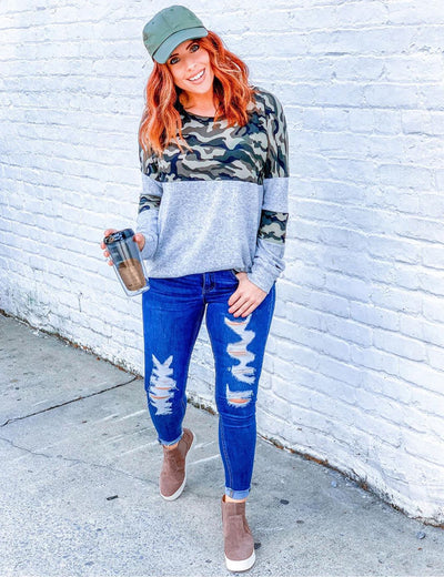Oversized Camouflage Patchwork Pullover T-Shirt
