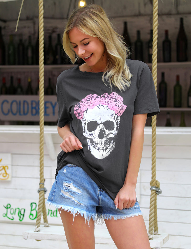 Rose And Skull Print Punk Fashion T-Shirt - Blooming Jelly