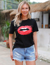 Pretty Red Lip Print Casual T-Shirt - Blooming Jelly
