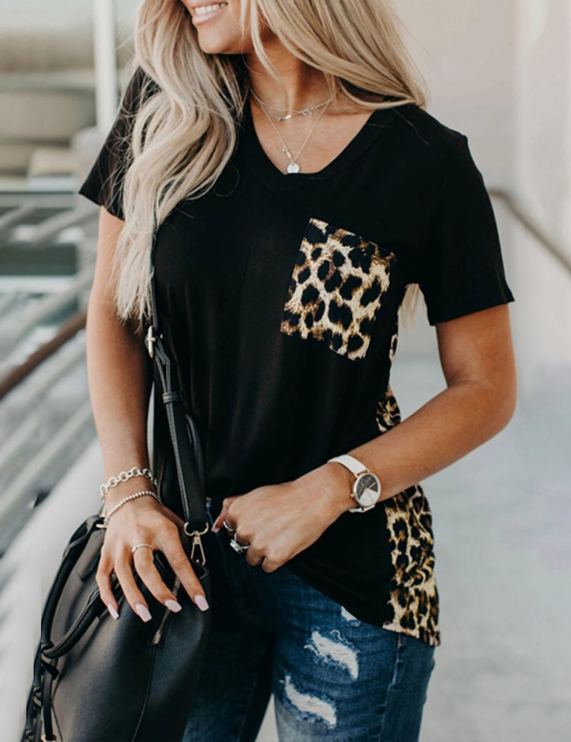Blooming Jelly_Leopard Pocket Tunic Top Loose T-Shirt_Leopard Print_152674_22_Women Loose Summer Outfits_Tops_T-Shirt