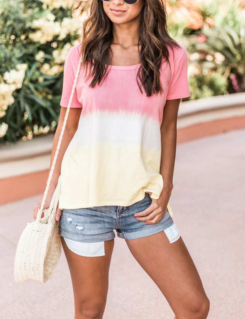 Blooming Jelly_Tie Dye Color Block Loose T-Shirt_Tie Dye Print_152678_14_SummEr Casual Daily Wear Outfits_Tops_T-Shirt