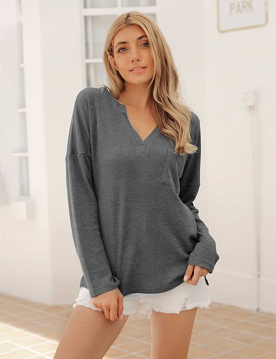 Blooming Jelly_Casual Knitted Long Sleeve Pocket T-Shirt_Gray_152694_07_2020 Women Autumn Wear Fashion_Tops_T-Shirt