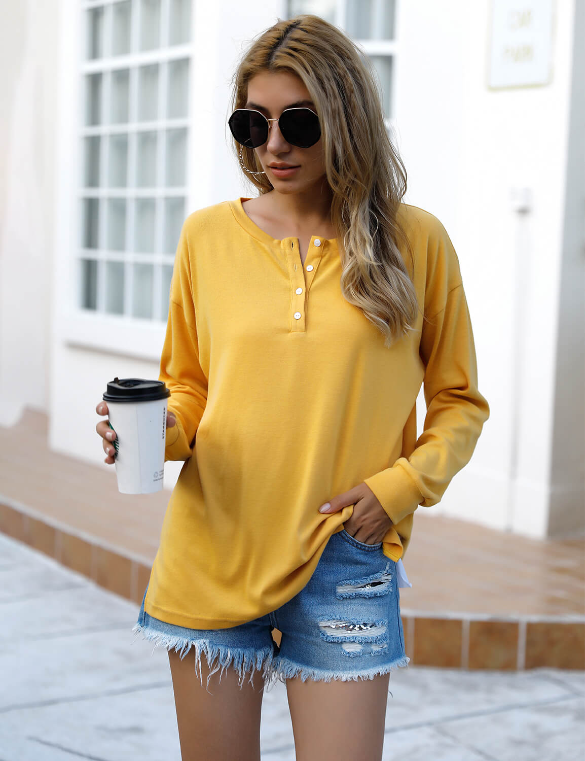 Blooming Jelly_Cozy Yellow Henley Shirt_Yellow_152735_20_Women Streetwear Fashion_Tops_T-Shirt