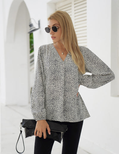 Blooming Jelly_Casual Puff Sleeve Chiffon Blouse_Black Dots Print_152767_19_Street Style Women Fashion Outfits_Tops_Blouse