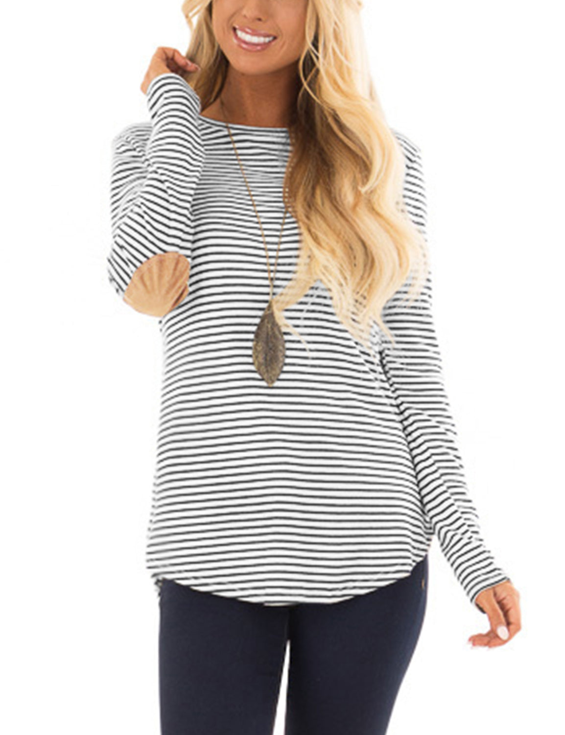 Casual Striped Elbow Patch Tunic Top