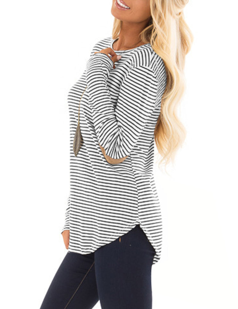 Casual Striped Elbow Patch Tunic Top - Blooming Jelly