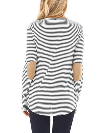 Blooming Jelly_Casual Striped Elbow Patch Tunic Top_Black Striped_153121_02_Women Fashion Autumn&Winter_Tops_Blouse