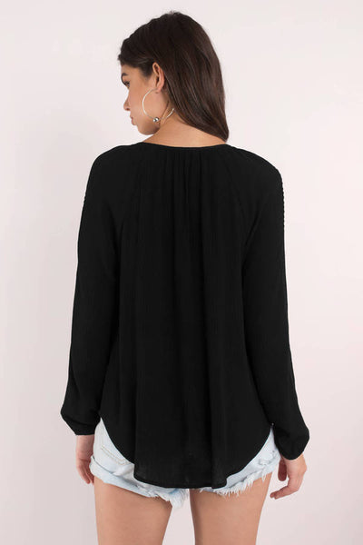 Chiffon Peasant Blouse with Long Lantern Sleeve - Blooming Jelly