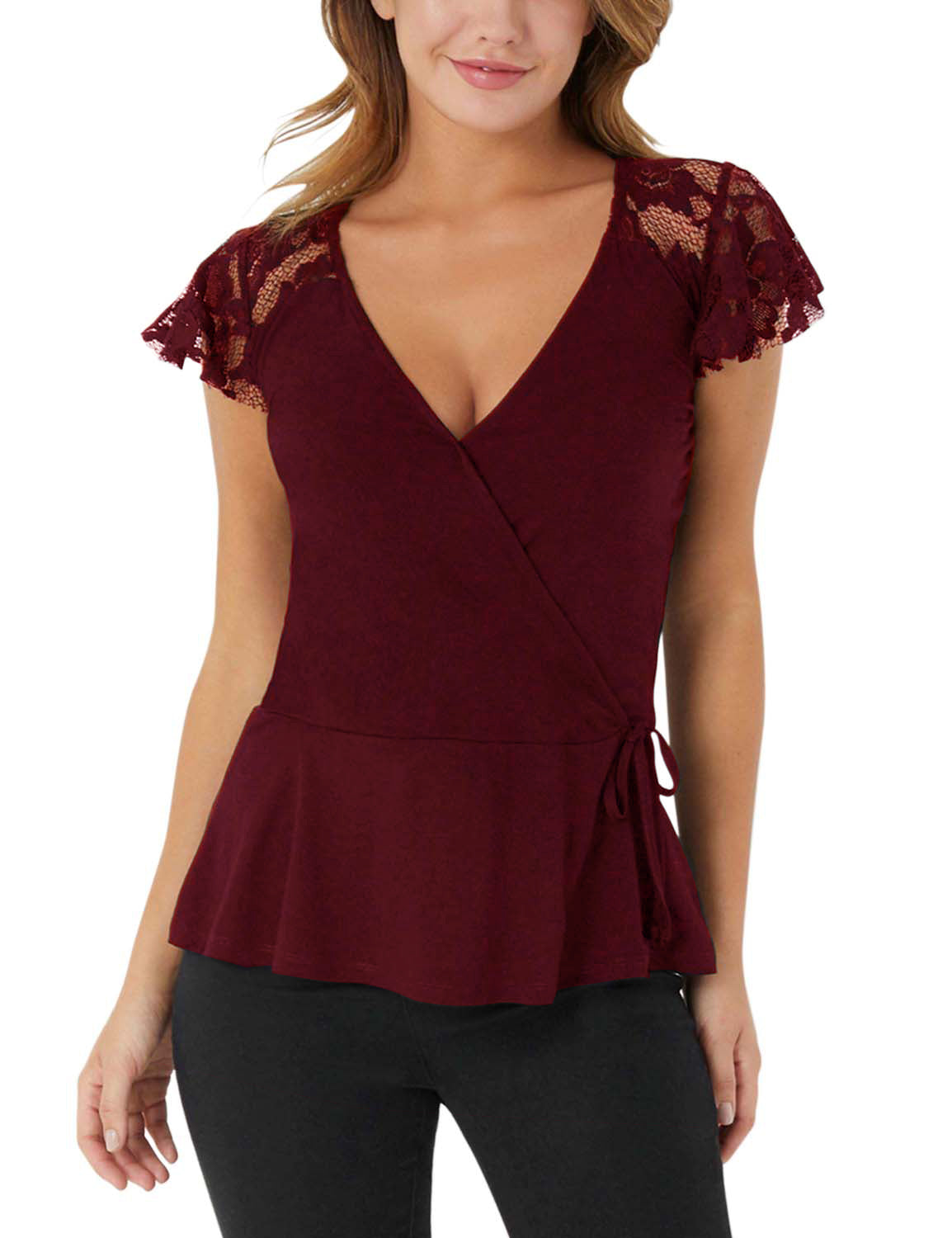 Deep V-neck Cross Bandage Blouse - Blooming Jelly