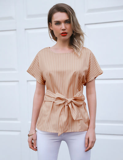O Neck Striped Belted Waist Blouse - Blooming Jelly