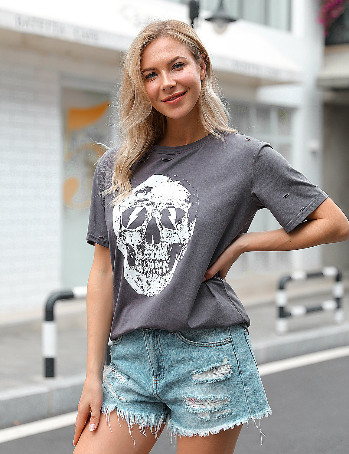 Blooming Jelly_Streetwear Cutout Hole Cool Skull T-Shirt_Slate Gray_153335_07_Stylish Street Wear Soft Tee_Tops_T-Shirt