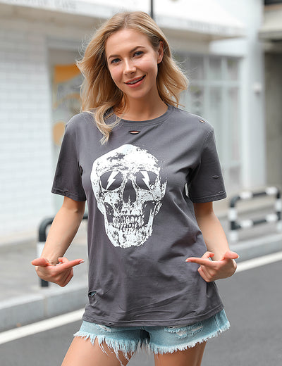 Streetwear Cutout Hole Cool Skull T-Shirt - Blooming Jelly