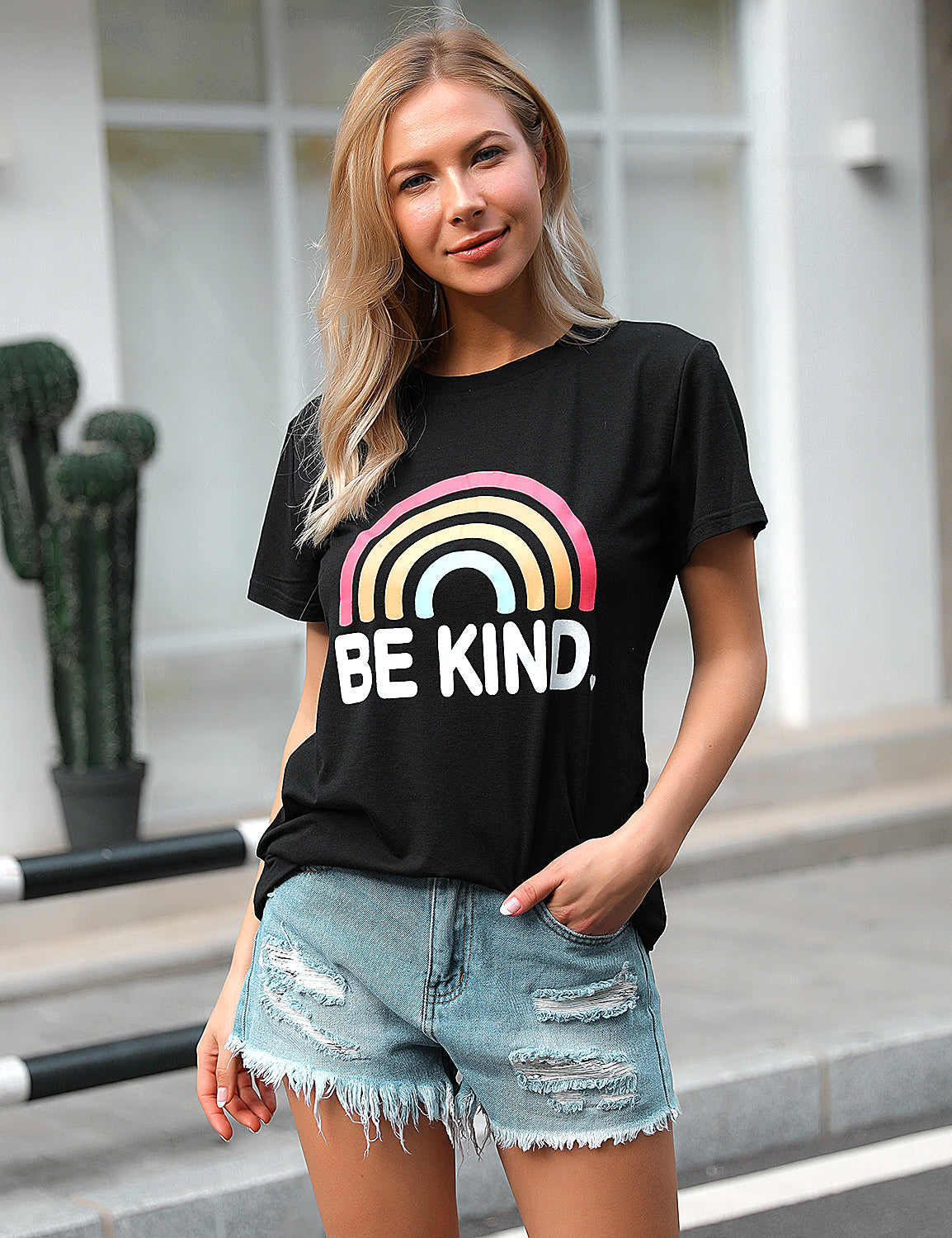 Blooming Jelly_Be Kind Colorful Rainbow Print Soft T-Shirt_Letter Print_153336_02_Trendy Women Streetwear Cool_Tops_T-Shirt