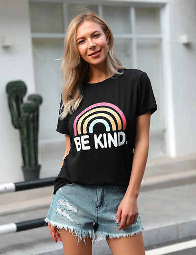Be Kind Colorful Rainbow Print Soft T-Shirt - Blooming Jelly