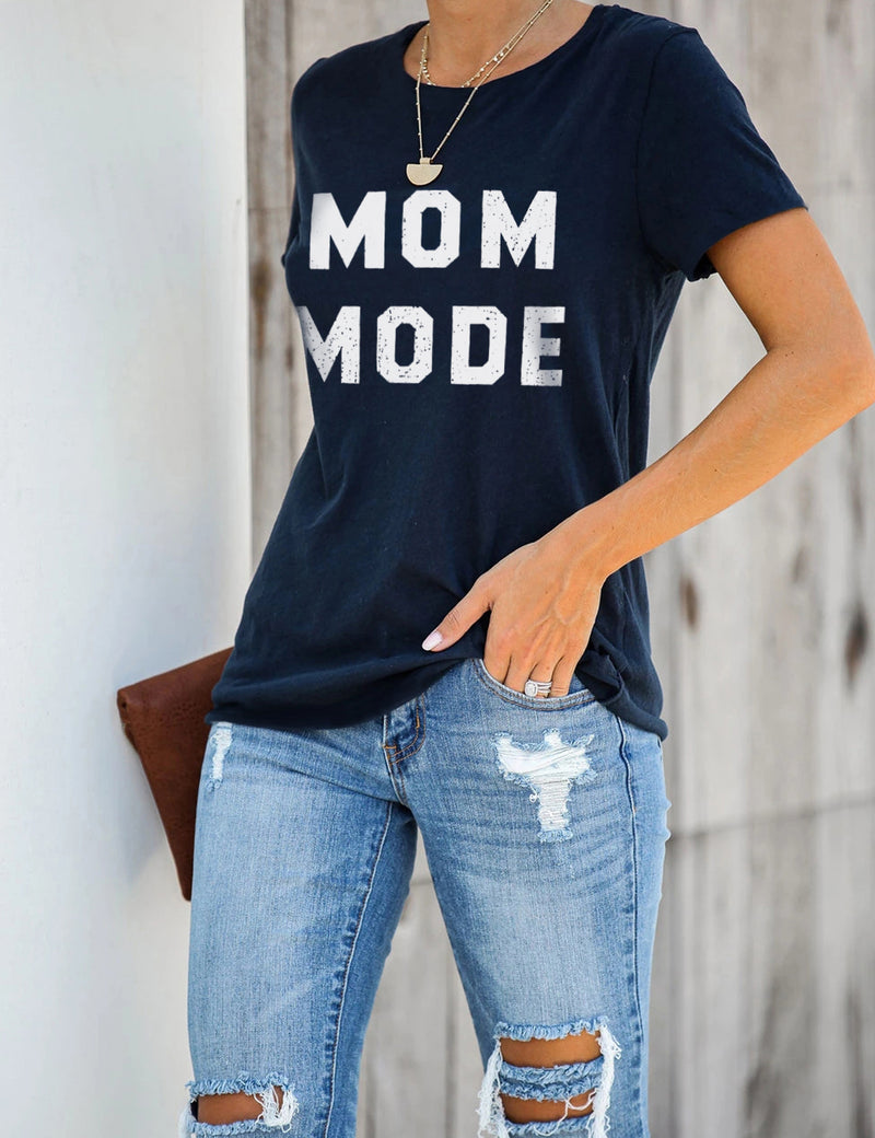 Mom Mode Print Soft Modal T-Shirt - Blooming Jelly