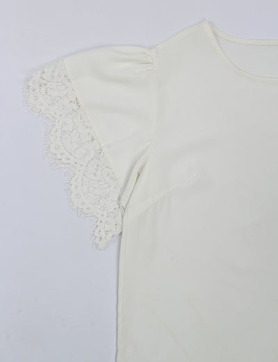 All Match Solid White Eyelash Lace Blouse - Blooming Jelly