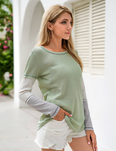 Blooming Jelly_Comfy Color Block Waffle T-Shirt_Contrast Color_153445_09_Stylish Women Casual Outfits_Tops_T-Shirt