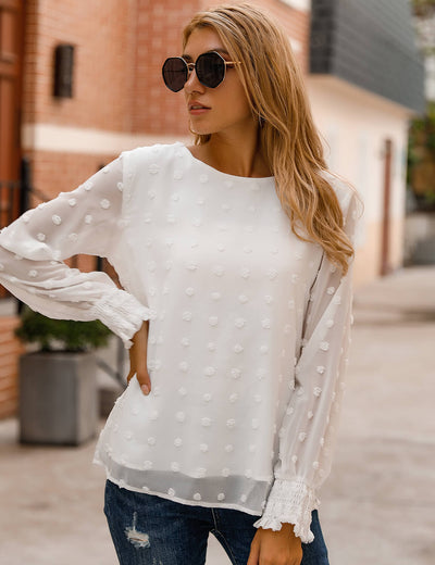 Blooming Jelly_Chic Puff Sleeves Dotted Layered Blouse_Pom Pom Details_153463_19_Elegant Women Fashion Outfits_Tops_Blouse