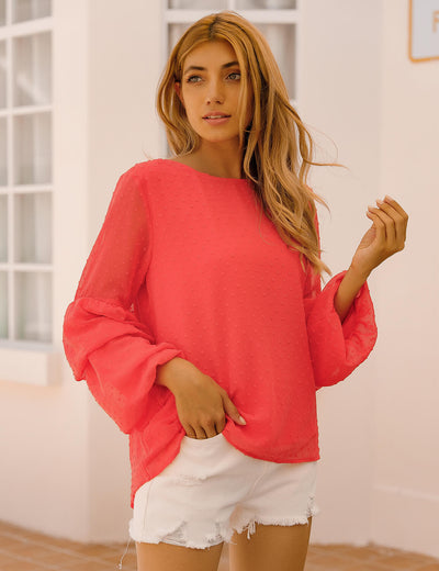 Blooming Jelly_Trendy Pom Pom Layered Blouse_Orange Red_153486_17_Women Workwear Fashion Outfits_Tops_Blouse