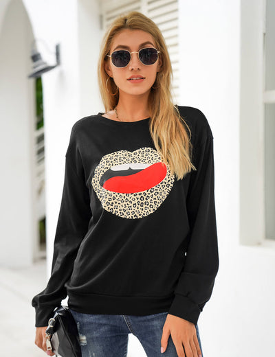 Blooming Jelly_Leopard Lip Long Sleeve Graphic Tee_Lip&Leopard Print_153497_02_Street Style Women Fashion Outfits_Tops_T-Shirt