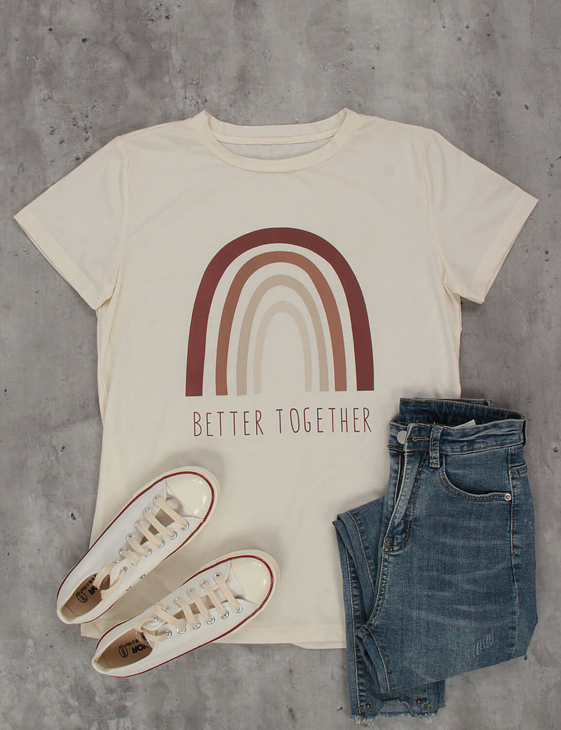 Better Together Letter Print Comfy T-Shirt