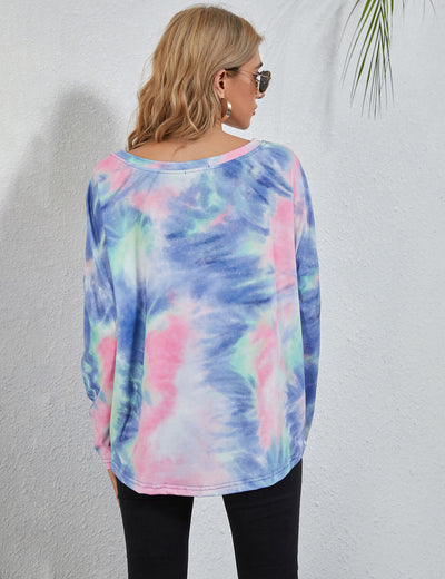 Blooming Jelly_Wide Collar Tie Dye T-Shirt_Tie Dye Print_152768_21_Street Style Women Fashion Outfits_Tops_T-Shirt