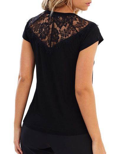 Short Sleeve Lace Patchwork T Shirt Top