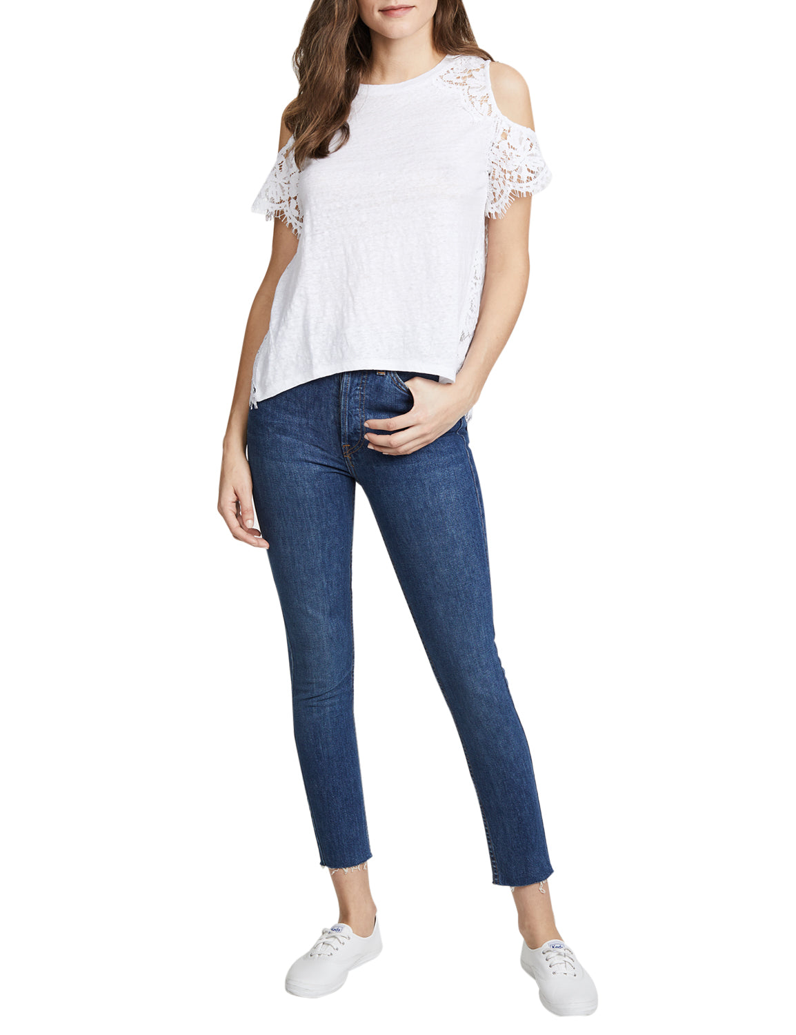 Cold Shoulder Blouse Back Lace Patchwork Top - Blooming Jelly