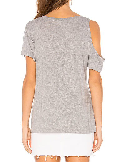 Chest Hole Cut T-shirt Solid Cold Shoulder Tops