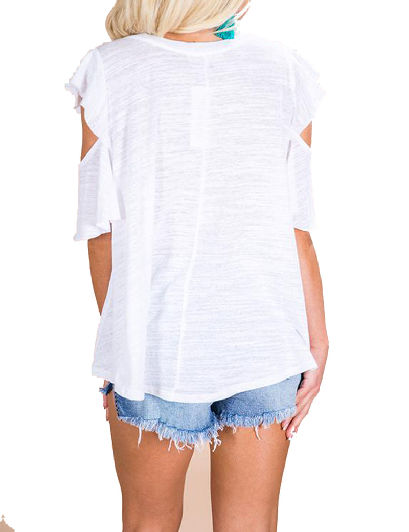 Summer V-Neck Cold Shoulder T-shirt Irregular Tops - Blooming Jelly