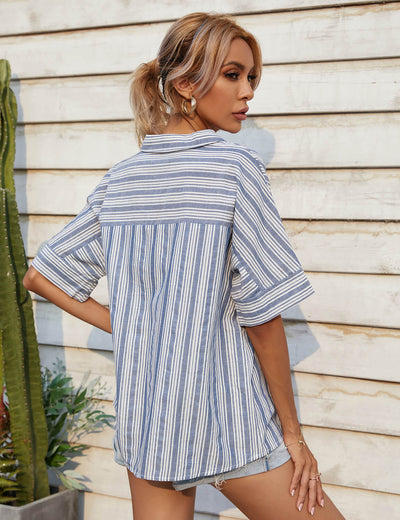 Street Style Casual Blue Stripe Shirt