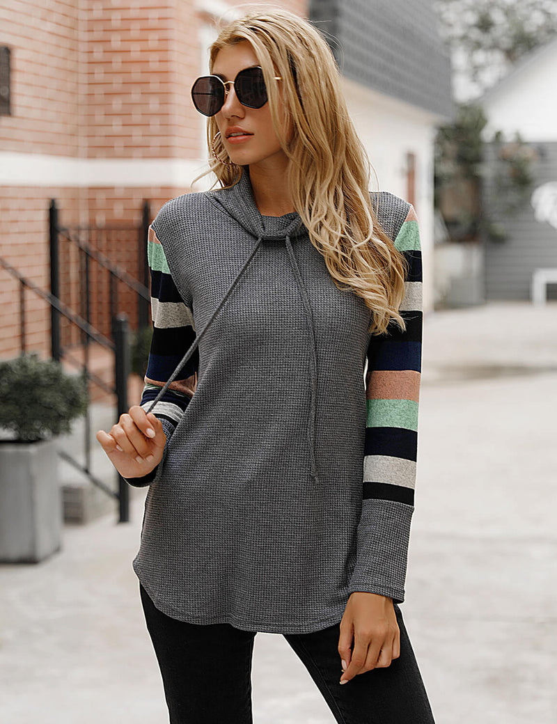 Color Block Stripe Turtle Neck Tunic Top