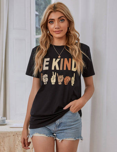 Loose Colorful BE KIND Print Casual T-Shirt