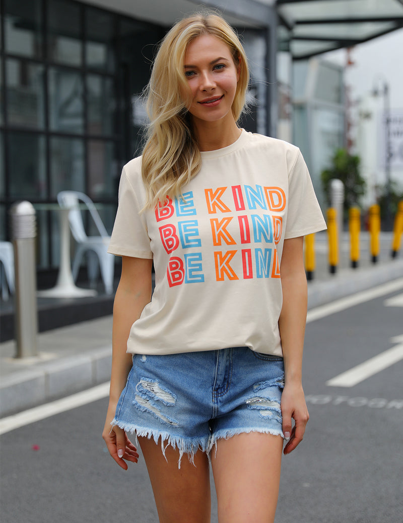 Loose Colorful BE KIND Print Casual T-Shirt - Blooming Jelly
