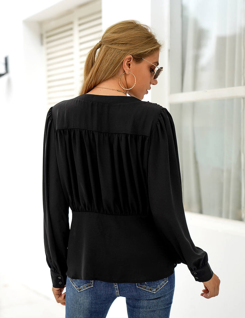 Blooming Jelly_Loose V Neck Chiffon Blouse_Black_154196_02_Street Style Women Fashion Outfits_Tops_Blouse